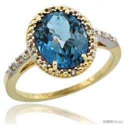 10k Yellow Gold Diamond London Blue Topaz Ring 2.4 ct Oval Stone 10x8 mm, 1/2 in wide -Style Cy905111