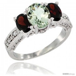 14k White Gold Ladies Oval Natural Green Amethyst 3-Stone Ring with Garnet Sides Diamond Accent