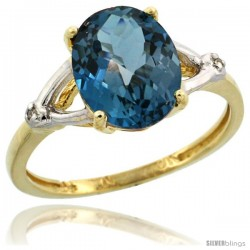 10k Yellow Gold Diamond London Blue Topaz Ring 2.4 ct Oval Stone 10x8 mm, 3/8 in wide