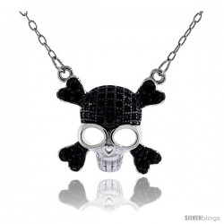 Sterling Silver Black & White CZ Skull & Crossbones Necklace Micro Pave 5/8 in