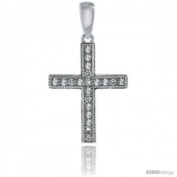 Sterling Silver Cubic Zirconia Latin Cross Pendant Micro Pave 11/16 in