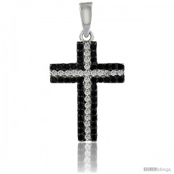 Sterling Silver Black & White CZ Cross Pendant Micro Pave 3/4 in -Style 4pzv113