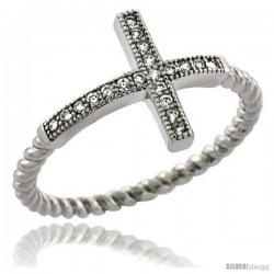Sterling Silver Cubic Zirconia Sideway Cross Ring Micro Pave