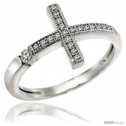 Sterling Silver Cubic Zirconia Sideway Cross Ring Micro Pave -Style 4rzv103