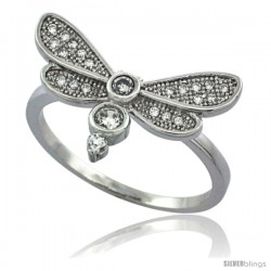 Sterling Silver Cubic Zirconia Dragonfly Ring Micro Pave