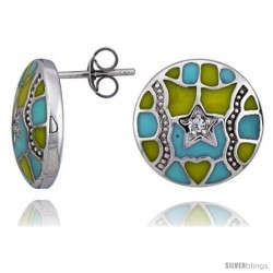 "Sterling Silver 9/16"" (15 mm) tall Post Earrings, Rhodium Plated w/ CZ Stones, Yellow & Blue Enamel Designs"