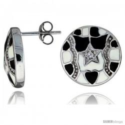 "Sterling Silver 9/16"" (15 mm) tall Post Earrings, Rhodium Plated w/ CZ Stones, Black & White Enamel Designs"