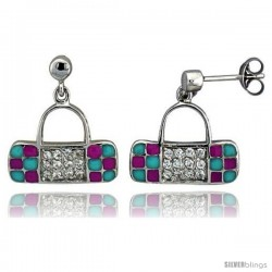 "Sterling Silver 5/8"" (16 mm) tall Purse Dangle Earrings, Rhodium Plated w/ CZ Stones, Pink & Blue Enamel Designs"