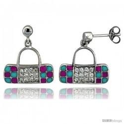 "Sterling Silver 5/8"" (16 mm) tall Purse Dangle Earrings, Rhodium Plated w/ CZ Stones, Pink & Blue Enamel Designs"