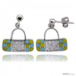 "Sterling Silver 5/8"" (16 mm) tall Purse Dangle Earrings, Rhodium Plated w/ CZ Stones, Yellow & Blue Enamel Designs"
