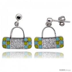 "Sterling Silver 5/8"" (16 mm) tall Purse Dangle Earrings, Rhodium Plated w/ CZ Stones, Yellow & Blue Enamel Designs"