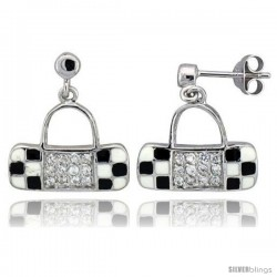 "Sterling Silver 5/8"" (16 mm) tall Purse Dangle Earrings, Rhodium Plated w/ CZ Stones, Black & White Enamel Designs"