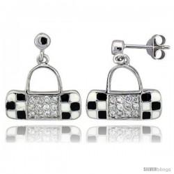 "Sterling Silver 5/8"" (16 mm) tall Purse Dangle Earrings, Rhodium Plated w/ CZ Stones, Black & White Enamel Designs"