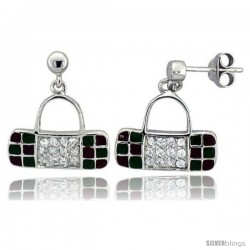 "Sterling Silver 5/8"" (16 mm) tall Purse Dangle Earrings, Rhodium Plated w/ CZ Stones, Green & Red Enamel Designs"