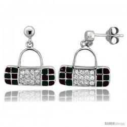 "Sterling Silver 5/8"" (16 mm) tall Purse Dangle Earrings, Rhodium Plated w/ CZ Stones, Green & Red Enamel Designs"