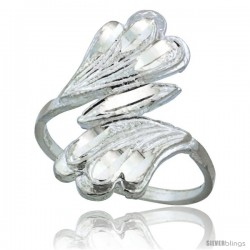 Sterling Silver Fan-shaped Freeform Ring Polished finish 7/8 in wide
