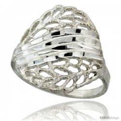 Sterling Silver Stripes & Oval Ring Polished finish 3/4 in wide