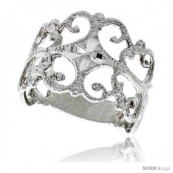 Sterling Silver Freeform Ring Polished finish 5/8 in wide -Style Ffr533
