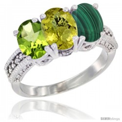 14K White Gold Natural Peridot, Lemon Quartz & Malachite Ring 3-Stone Oval 7x5 mm Diamond Accent