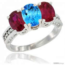10K White Gold Natural Swiss Blue Topaz & Ruby Sides Ring 3-Stone Oval 7x5 mm Diamond Accent