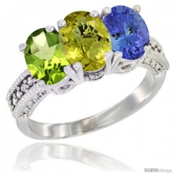 14K White Gold Natural Peridot, Lemon Quartz & Tanzanite Ring 3-Stone Oval 7x5 mm Diamond Accent