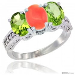 14K White Gold Natural Coral & Peridot Sides Ring 3-Stone Oval 7x5 mm Diamond Accent