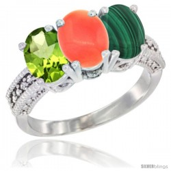 14K White Gold Natural Peridot, Coral & Malachite Ring 3-Stone Oval 7x5 mm Diamond Accent