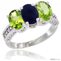 14K White Gold Natural Lapis & Peridot Sides Ring 3-Stone Oval 7x5 mm Diamond Accent