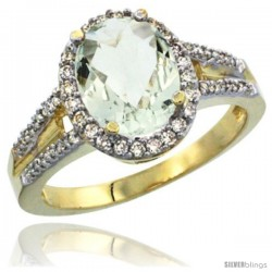 14k Yellow Gold Ladies Natural Green Amethyst Ring oval 10x8 Stone Diamond Accent