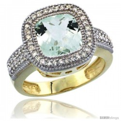 14K Yellow Gold Natural Green-Amethyst Ring Cushion-cut 9x9 Stone Diamond Accent