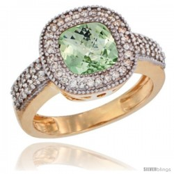 14k Yellow Gold Ladies Natural Green-Amethyst Ring Cushion-cut 3.5 ct. 7x7 Stone Diamond Accent