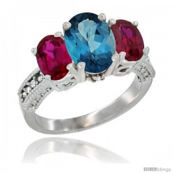 10K White Gold Ladies Natural London Blue Topaz Oval 3 Stone Ring with Ruby Sides Diamond Accent