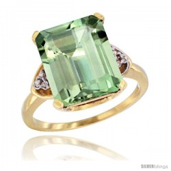 14k Yellow Gold Ladies Natural Green Amethyst Ring Emerald-shape 12x10 Stone Diamond Accent