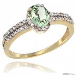 14k Yellow Gold Ladies Natural Green Amethyst Ring oval 6x4 Stone Diamond Accent -Style Cy402178
