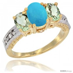 14k Yellow Gold Ladies Oval Natural Turquoise 3-Stone Ring with Green Amethyst Sides Diamond Accent
