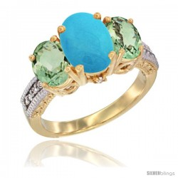 14K Yellow Gold Ladies 3-Stone Oval Natural Turquoise Ring with Green Amethyst Sides Diamond Accent