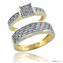 10k Gold 2-Piece Diamond Ring Band Set w/ Rhodium Accent ( Engagement Ring & Man's Wedding Band ), w/ 0.27 Carat Brilliant Cut