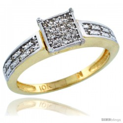 10k Gold Diamond Engagement Ring w/ 0.145 Carat Brilliant Cut Diamonds, 1/8 in. (3mm) wide