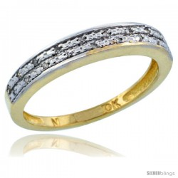 10k Gold Ladies' Diamond Ring Band w/ 0.064 Carat Brilliant Cut Diamonds, 1/8 in. (3.5mm) wide