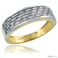 10k Gold Men's Diamond Ring Band w/ 0.12 Carat Brilliant Cut Diamonds, 1/4 in. (6.5mm) wide