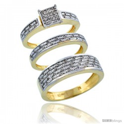10k Gold 3-Piece Trio His (6.5mm) & Hers (3.5mm) Diamond Wedding Ring Band Set w/ 0.328 Carat Brilliant Cut Diamonds