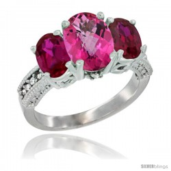 10K White Gold Ladies Natural Pink Topaz Oval 3 Stone Ring with Ruby Sides Diamond Accent