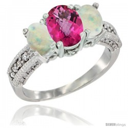 10K White Gold Ladies Oval Natural Pink Topaz 3-Stone Ring with Opal Sides Diamond Accent