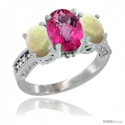 10K White Gold Ladies Natural Pink Topaz Oval 3 Stone Ring with Opal Sides Diamond Accent