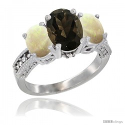 10K White Gold Ladies Natural Smoky Topaz Oval 3 Stone Ring with Opal Sides Diamond Accent