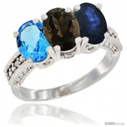14K White Gold Natural Swiss Blue Topaz, Smoky Topaz & Blue Sapphire Ring 3-Stone 7x5 mm Oval Diamond Accent