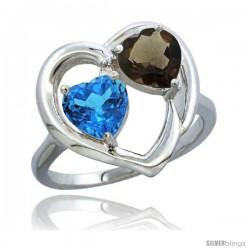 14k White Gold 2-Stone Heart Ring 6mm Natural Swiss Blue & Smoky Topaz Diamond Accent