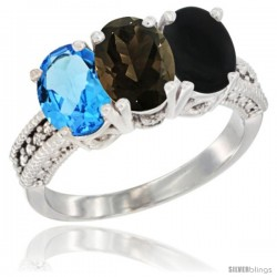 14K White Gold Natural Swiss Blue Topaz, Smoky Topaz & Black Onyx Ring 3-Stone 7x5 mm Oval Diamond Accent