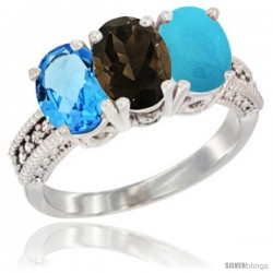 14K White Gold Natural Swiss Blue Topaz, Smoky Topaz & Turquoise Ring 3-Stone 7x5 mm Oval Diamond Accent
