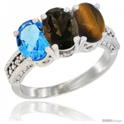14K White Gold Natural Swiss Blue Topaz, Smoky Topaz & Tiger Eye Ring 3-Stone 7x5 mm Oval Diamond Accent